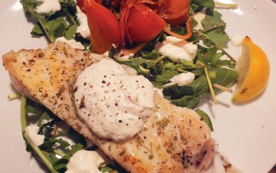 Halibut Filets in Horseradish Cream Sauce with Roasted Beets