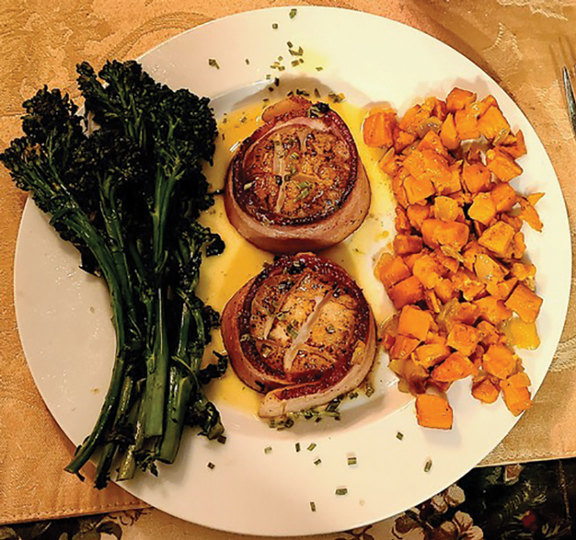 Bacon Wrapped Seared Scallops in a Beurre Blanc Sauce with Butternut Squash